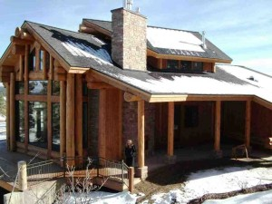Snow capped log cabin