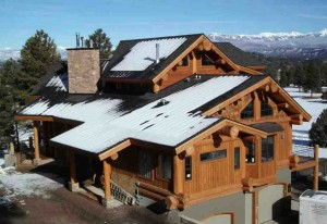 Snowcapped log cabin