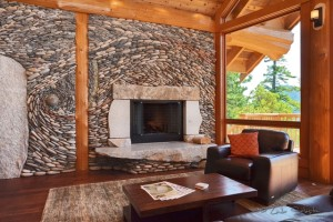 Fireplace with custom rock art