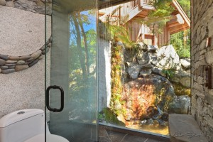Bathroom with exterior water feature