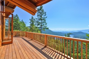 Stunning views from a deck overlooking the valley and ocean
