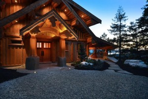 Stunning Log home lite up at sunset