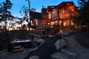 Timber Frame Home at sunset