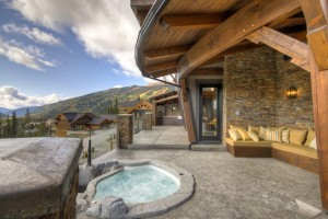 Outdoor living space and hot tub at Bella Vista