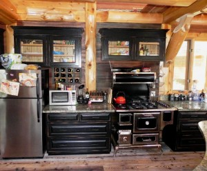 Log Home Rustic Kitchen