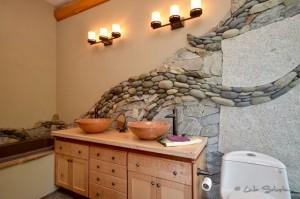Beautiful natural stonework in bathroom