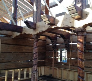 Custom carved supporting beams