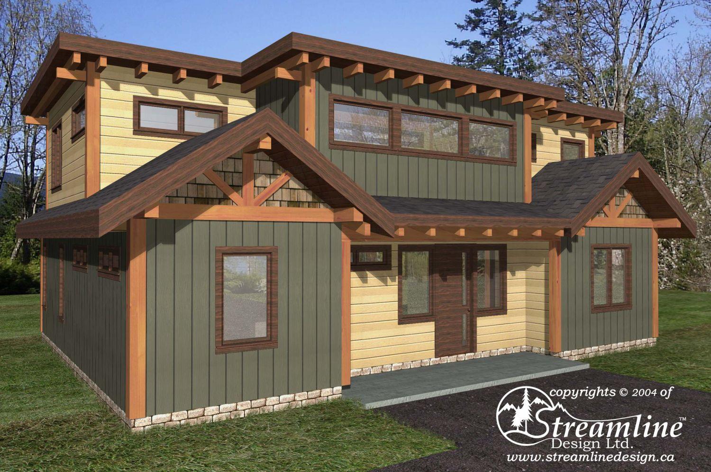 Green lake timber frame plans 2186sqft streamline design for Timber frame house plans designs
