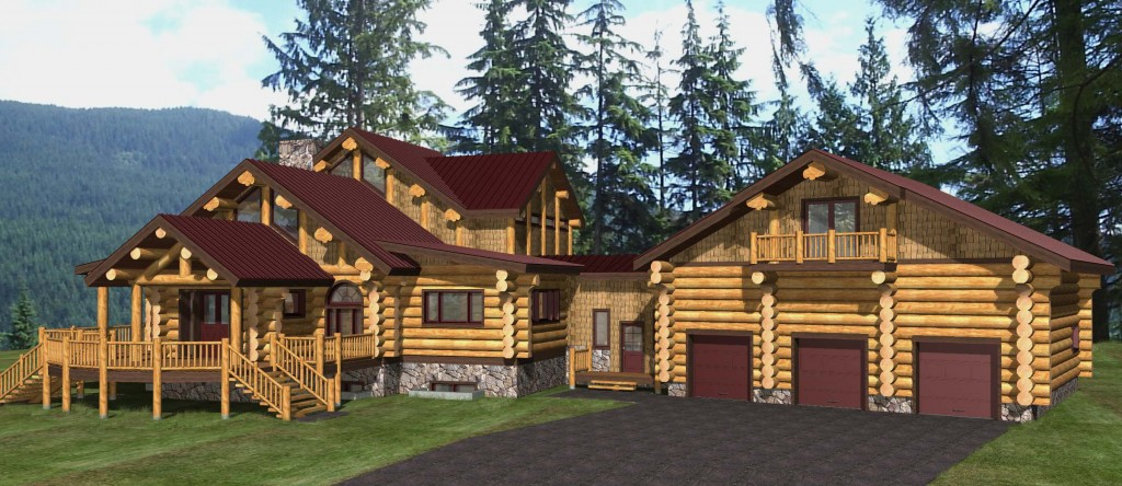 Timber Frame Plans with Three Car Garage