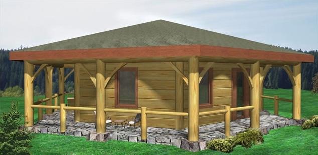log-hexigon-building