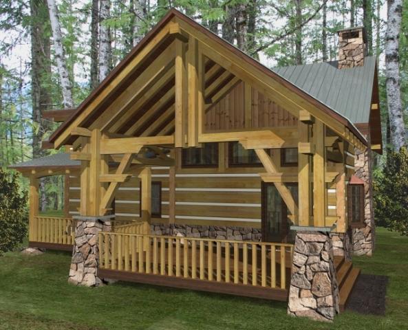 Big rock log home plans 2344sqft streamline design for Large log home plans