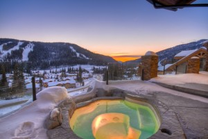 Beautiful hot tub overlooking ski village