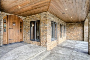 custom front entry to log home