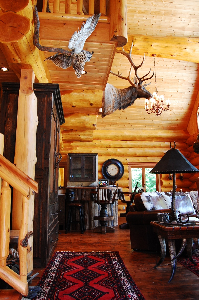 Rustic log cabin interior