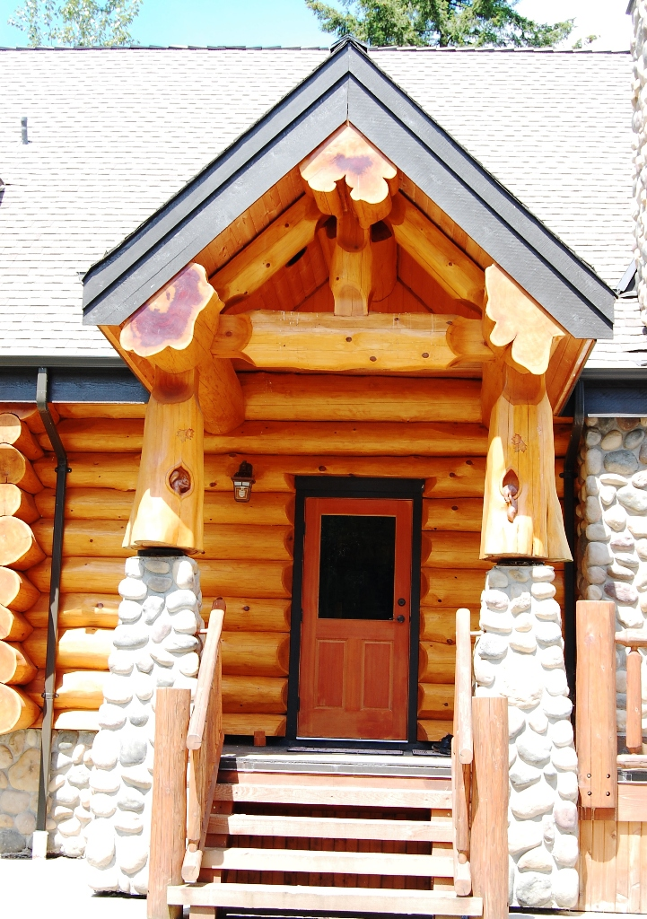 Log cabin entrance