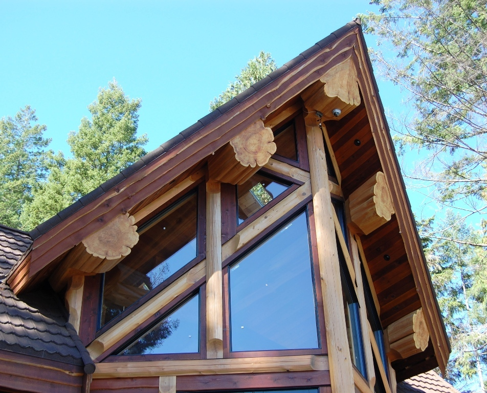 Log cabin windows