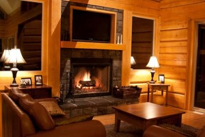 log cabin living room with fireplace