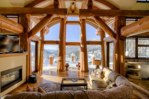 luxury living room in log home