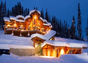 luxury log cabin in the snow