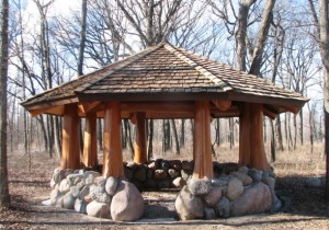 outdoor log gazebo