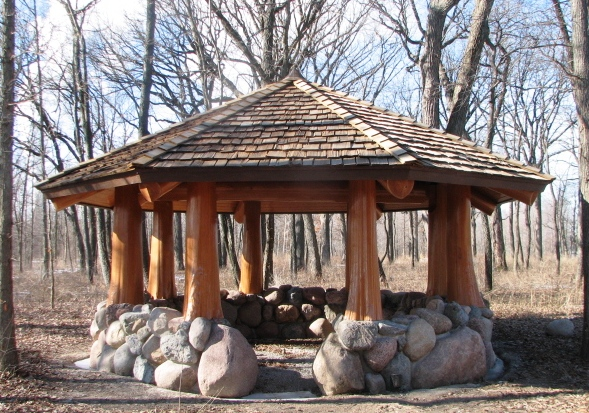 outdoor log gazebo