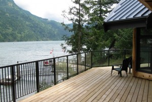 large deck overlooking a lake