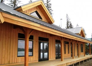 large wrap around deck on timber frame home