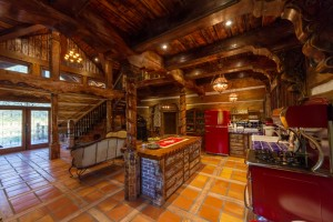 rustic log cabin kitchen