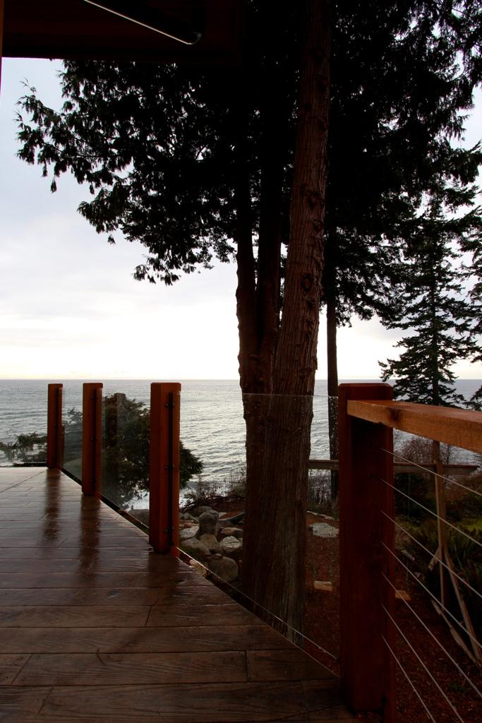 deck on a rainy day