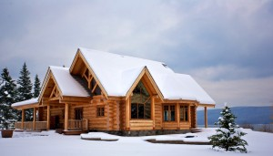 Log Cabin in the snow