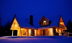 Timber Frame Home in the snow
