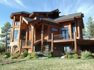 front-garden-of-log-home