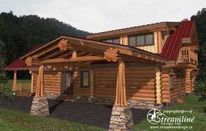 Gunboat Bay Log Home Plans