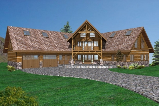 Highland ranch timber frame plans 6257sqft streamline for Ranch style timber frame homes