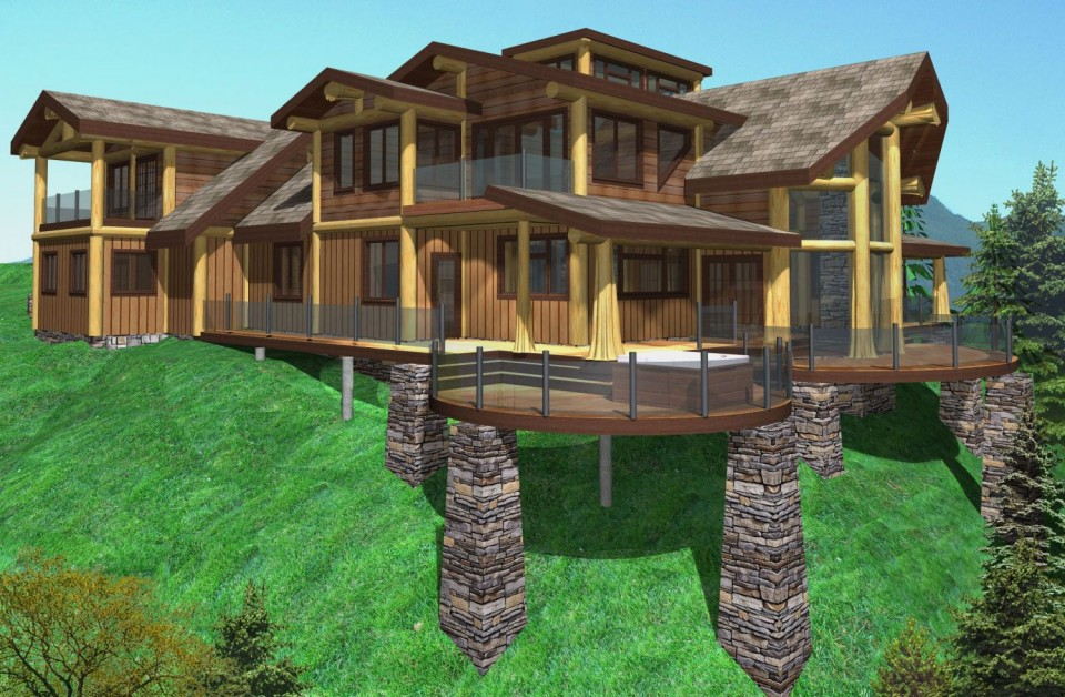 Shoal lookout log home plans 3378sqft streamline design for Lookout tower house plans