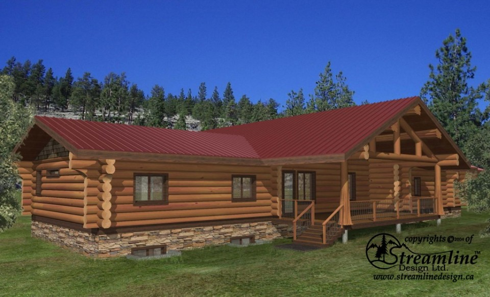 Thorsby Log Home Plans 7123sqft Streamline Design