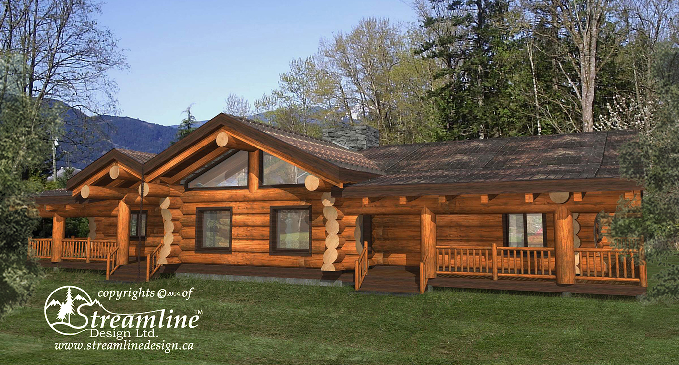 Linn County Log Home Streamline Design: country log home