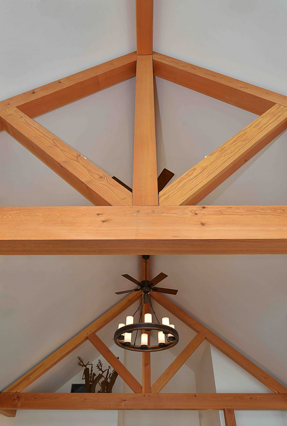 Beam structure inside a timber frame home