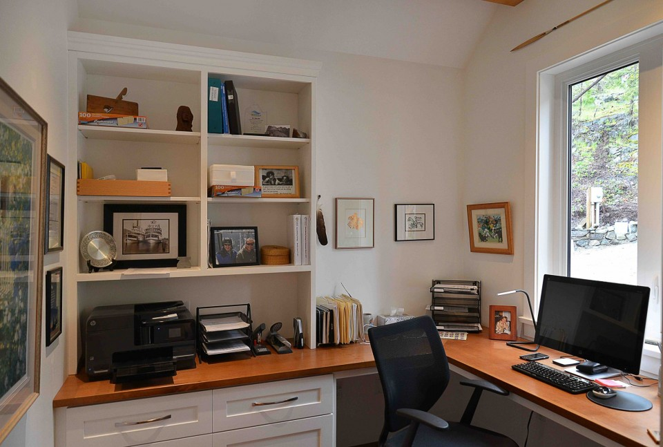 Home office with custom wood desk