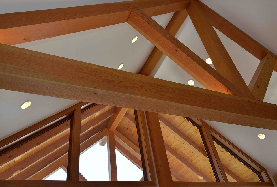 Exposed beams and recessed lighting