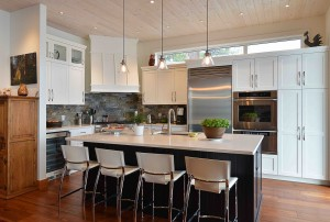 Modern kitchen with island and four chairs