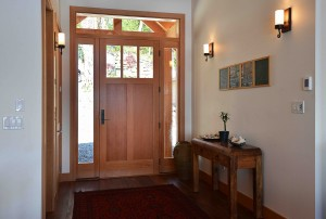 The inside of the front door in a new home