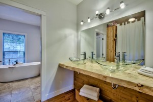 Master bathroom with wood accents