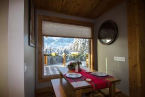 Breakfast nook in a post and beam log home
