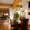 Dining room in a post and beam log home