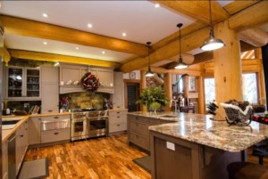 Modern kitchen in a post and beam log home