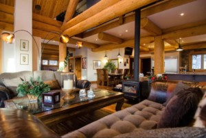Cozy living room in a post and beam log home