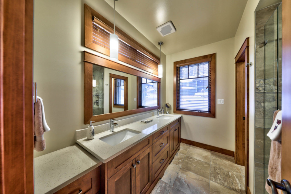 Master bathroom in a timber frame log home