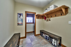 Mudroom in a timber frame log home