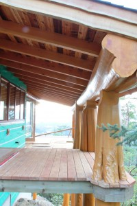 Log Home Deck under construction